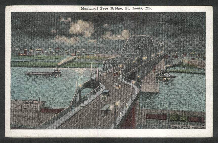 Municipal Free Bridge St Louis MO postcard 1910s