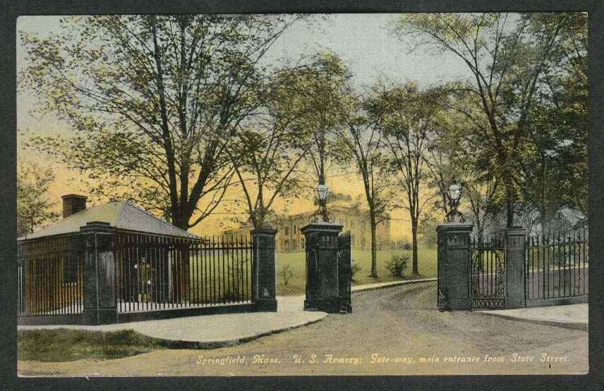 US Armory Gateway Main Entrance State Street Springfield MA postcard 1910s