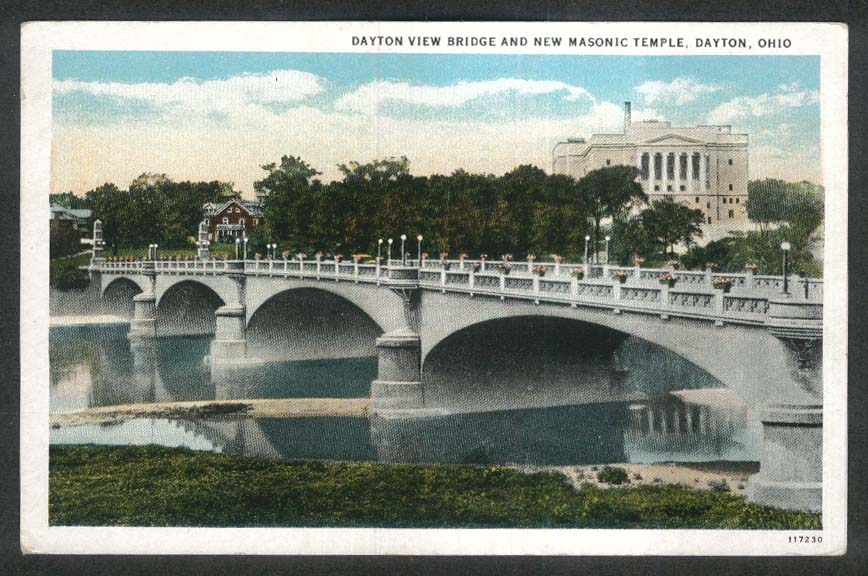 Dayton View Bridge & New Masonic Temple Dayton OH postcard 1920s