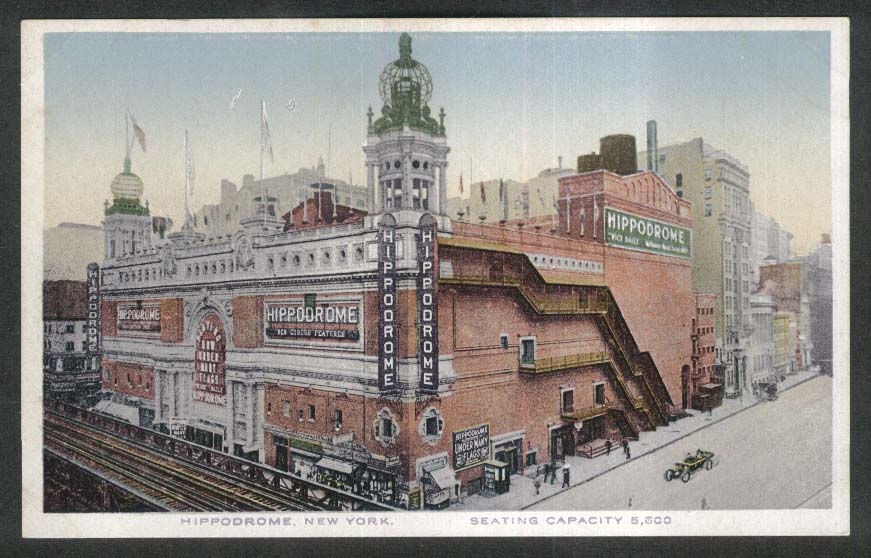 Playing Now Under Many Flags Hippodrome New York City NY postcard 1910s