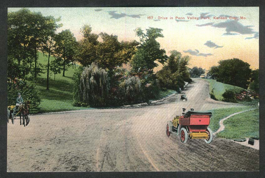 Drive in Penn Valley Park Kansas City MO postcard 1910s