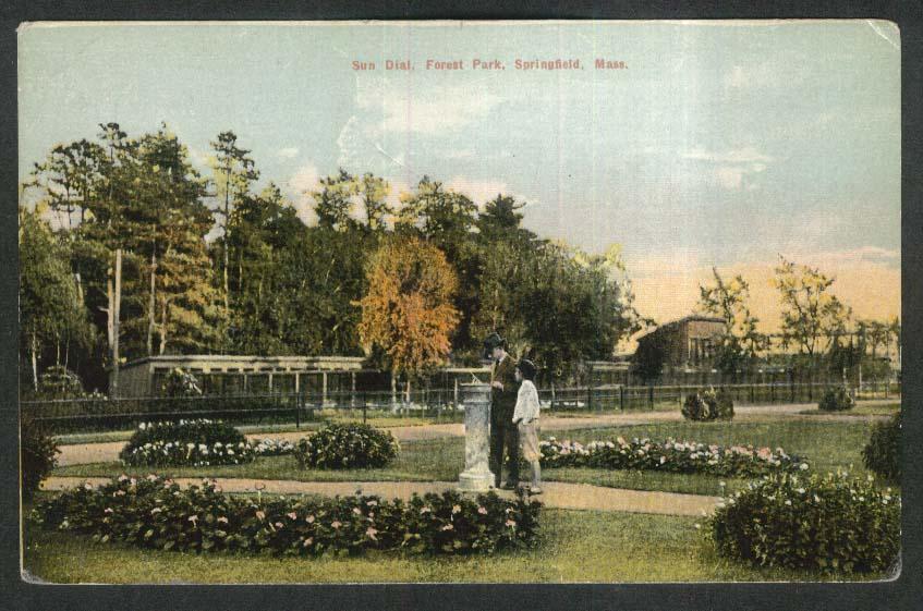 Sun Dial Forest Park Springfield MA postcard 1910s