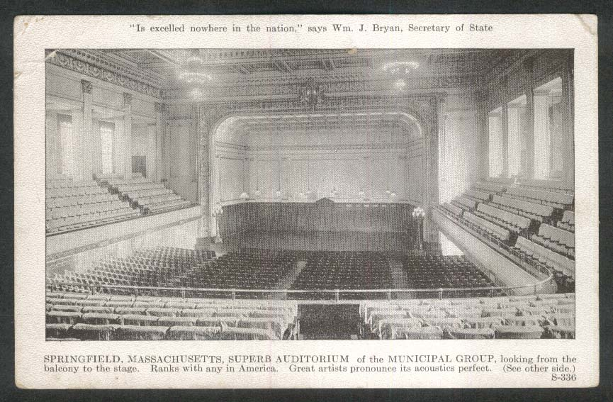 Springfield MA Superb Auditorium of Municipal Group postcard 1920s