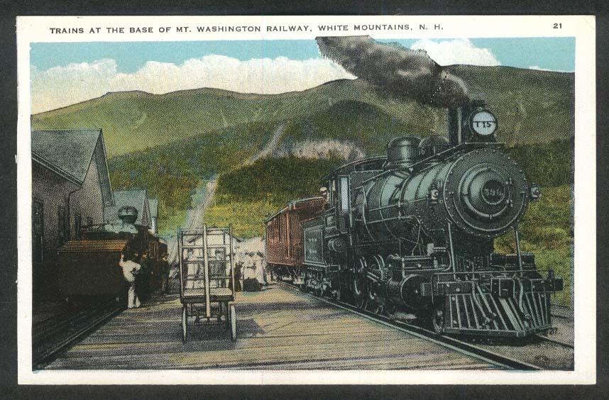 Trains at the Base of Mount Washington Railway White Mountains NH postcard 1920s