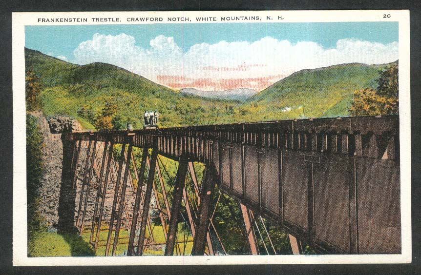 Frankenstein Trestle Crawford Notch White Mountains NH postcard 1920s