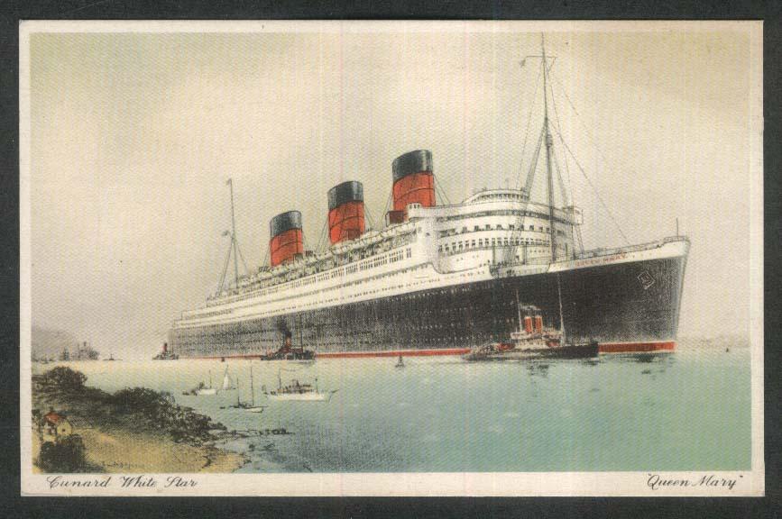 Cunard White Star Queen Mary ocean liner postcard 1920s
