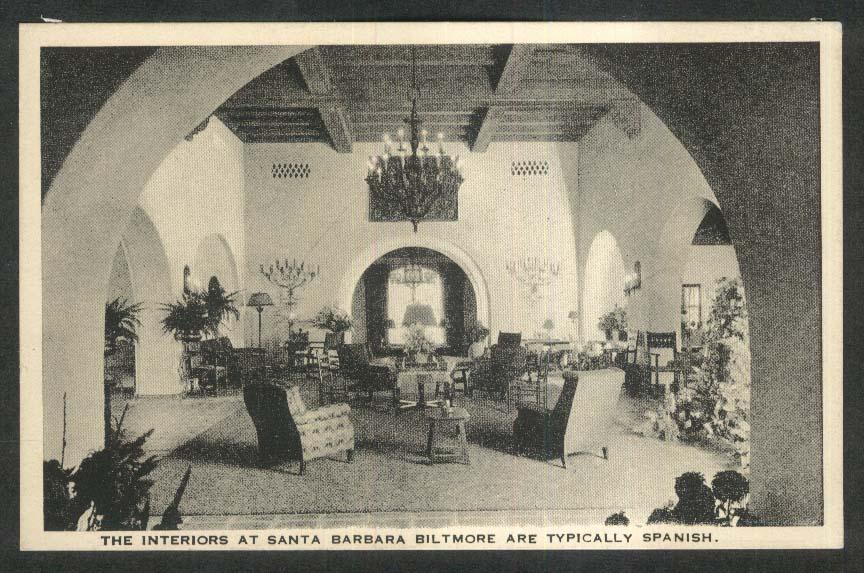 Spanish Interiors at Santa Barbara Biltmore CA postcard 1920s