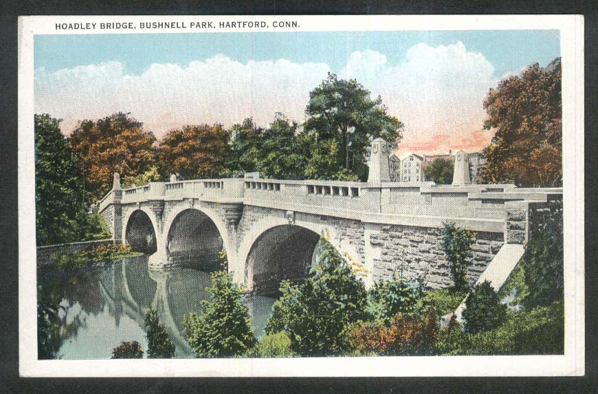 Hoadley Bridge Bushnell Park Hartford CT postcard 1920s