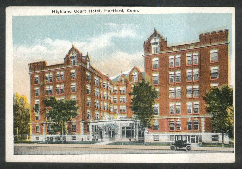 Highland Court Hotel Hartford CT postcard 1920s