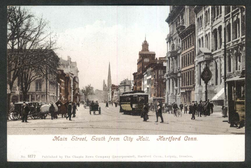 Main Street South from City Hall Hartford CT undivided back postcard 1900s