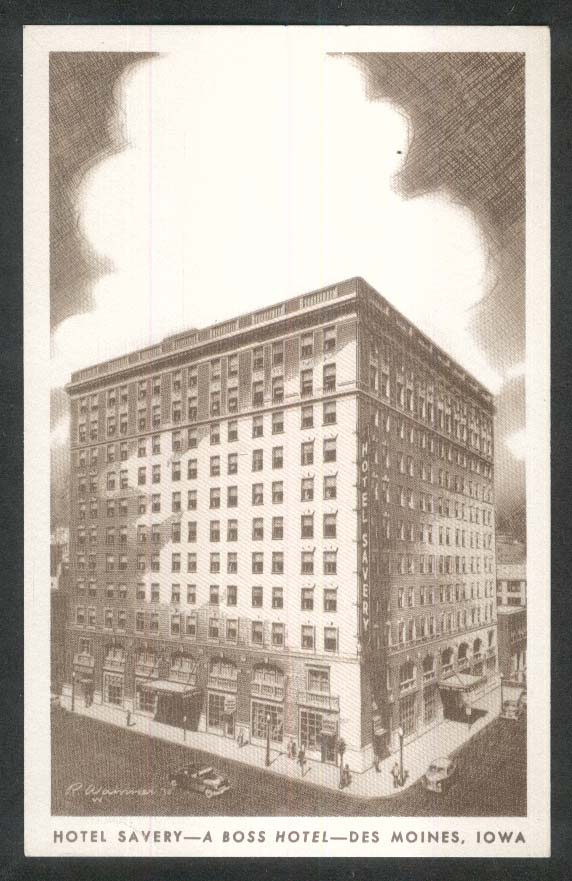 Hotel Savery Boss Hotel Des Moines IA postcard 1940s