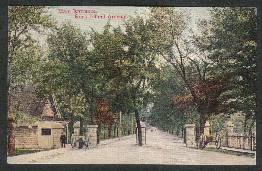 Main Entrance Rock Island Arsenal IL postcard 1910s