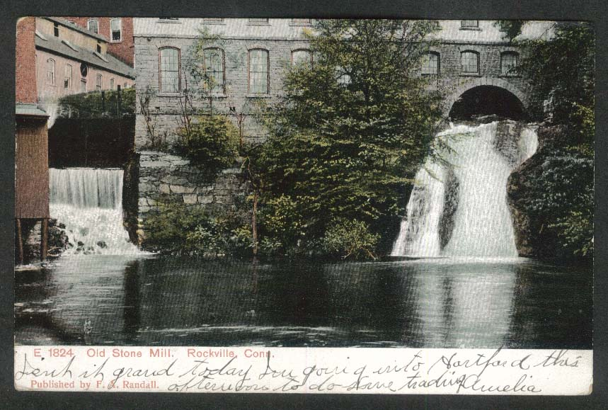 Old Stone Mill Rockville CT postcard 1907