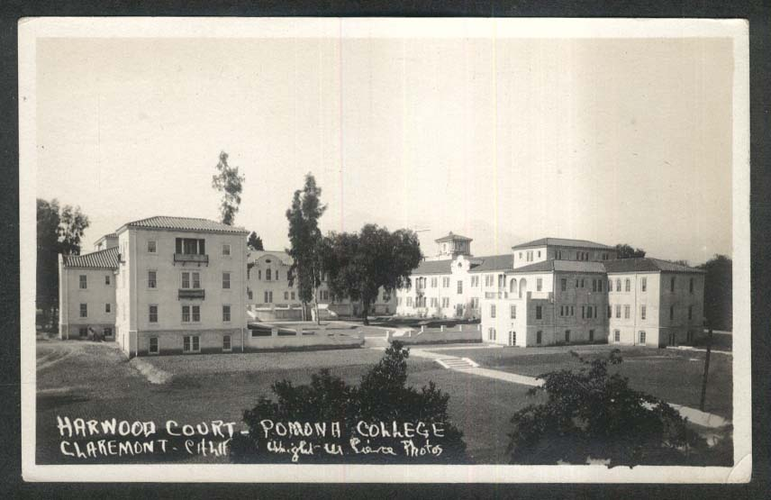 Harwood Court Pomona College Claremont CA RPPC postcard 1925