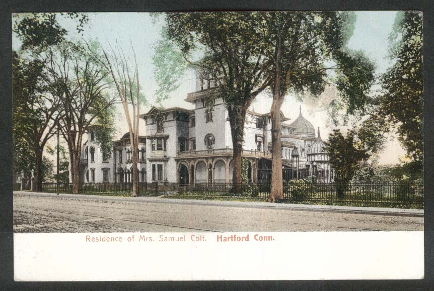 Residence of Mrs Samuel Colt Hartford CT undivided back postcard 1907