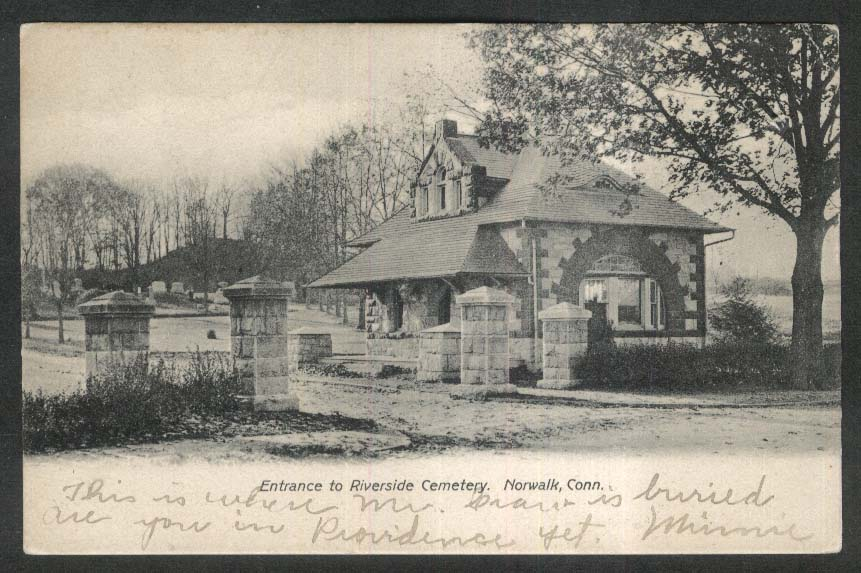 Entrance to Riverside Cemetery Norwalk CT undivided back postcard 1907