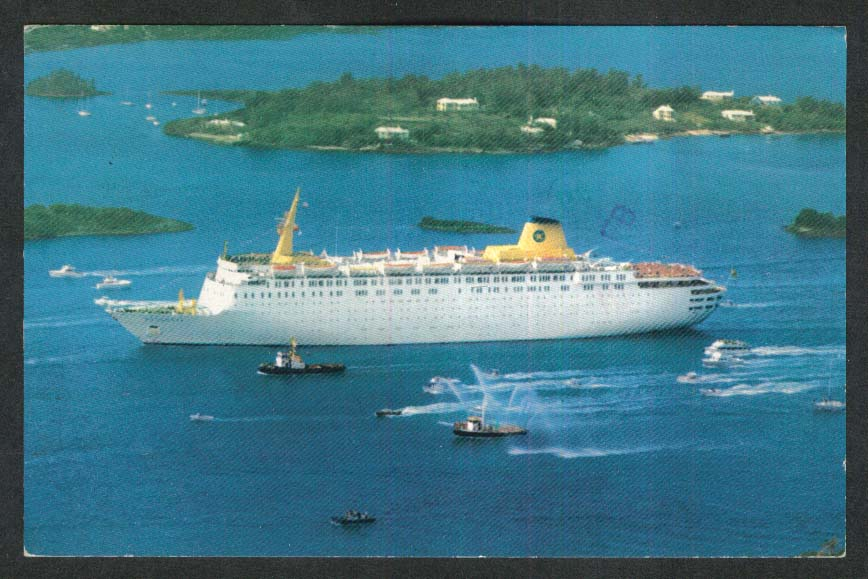 Home Lines M/V Atlantic cruise ship postcard 1986