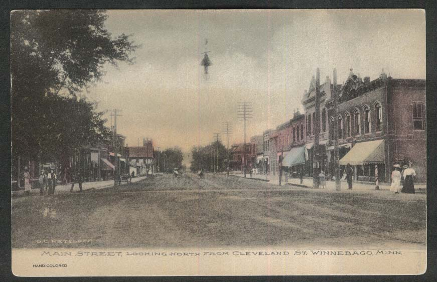 Main Street looking North from Cleveland St Winnebago MN postcard 1907