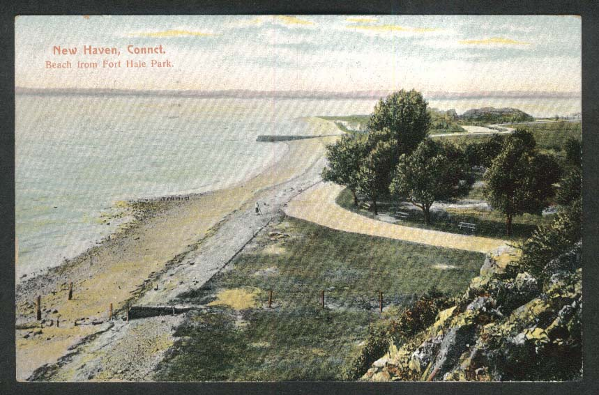 Beach from Fort Hale Park New Haven CT postcard 1908