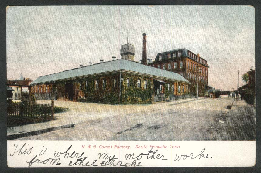 R & G Corset Factory South Norwalk CT undivided back postcard 1911