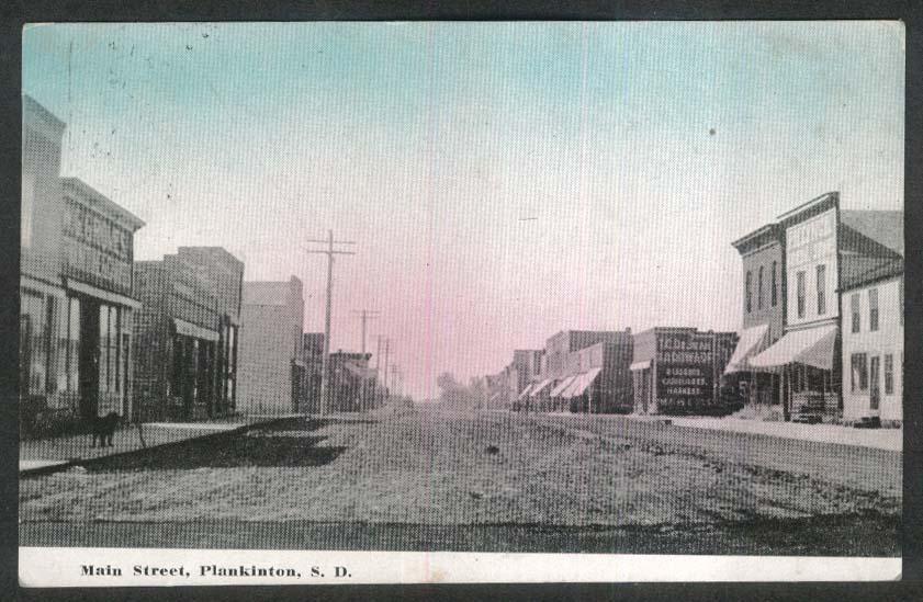 W G Groves Furniture De Jean Hardware Main Street Plankinton SD postcard 1911