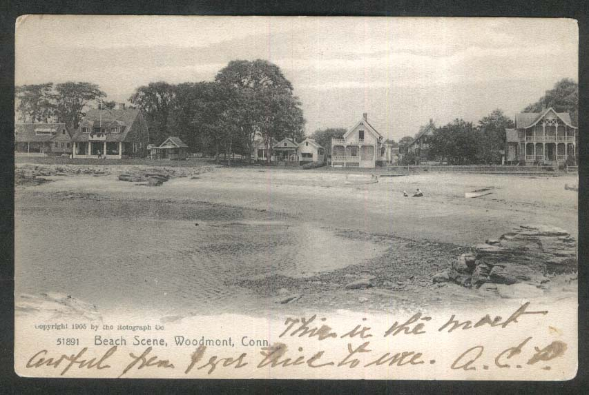 Beach Scene Woodmont CT undivided back postcard 1906