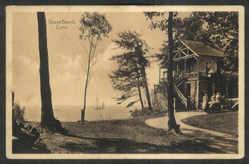 Sailboat seen from Grove Beach CT postcard 1917