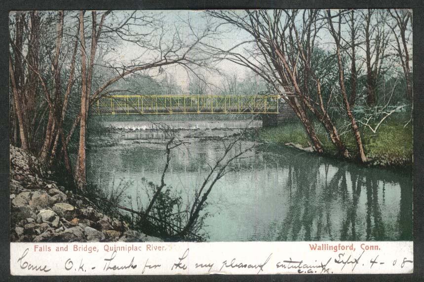 Falls & Bridge Quinnipiac River Wallingford CT postcard 1908