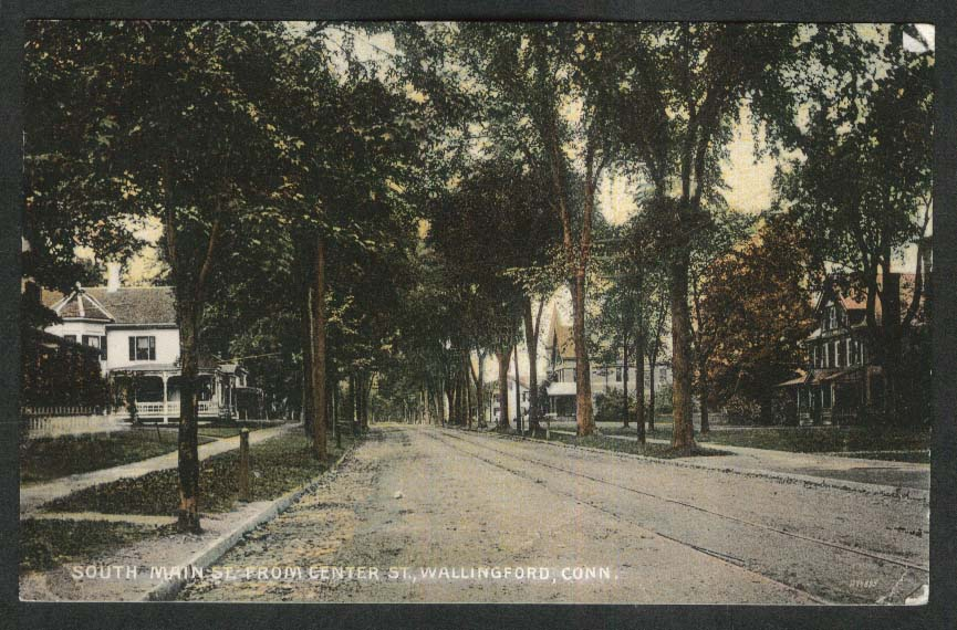 South Main Street from Center St Wallingford CT postcard 1909