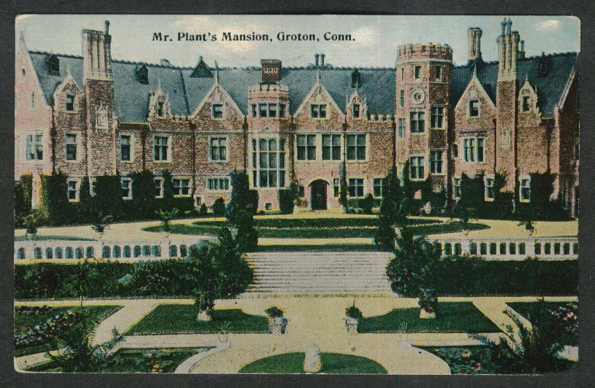 Mr Plant's Mansion Groton CT postcard 1912