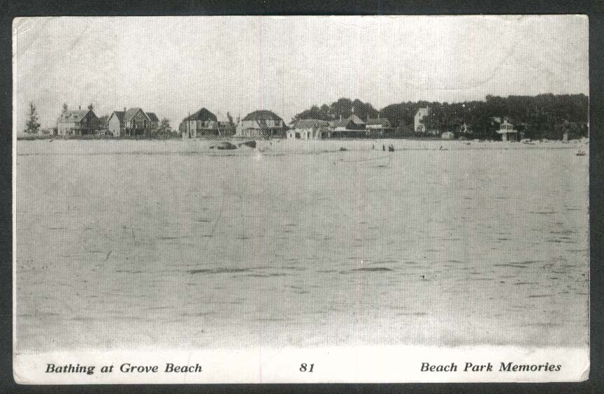 Bathing at Grove Beach Park CT postcard 1908