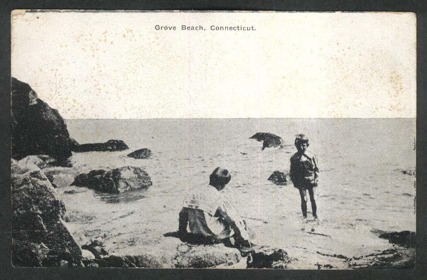 Kids in surf at Grove Beach CT postcard 1911