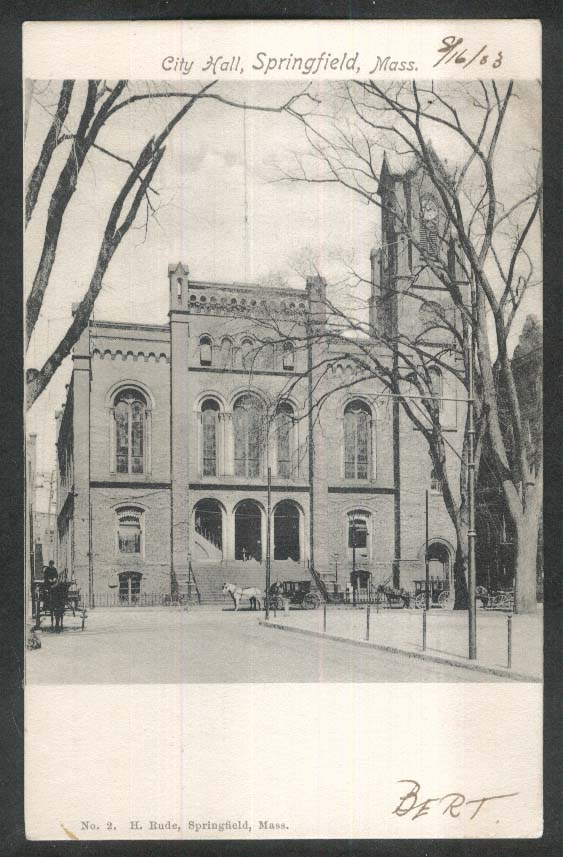 City Hall Springfield MA undivided back postcard 1903