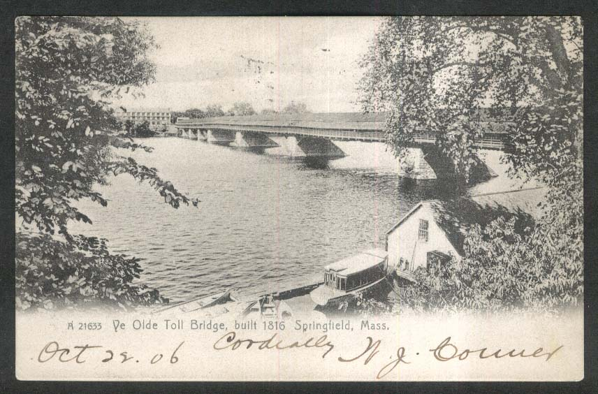 Ye Olde Toll Bridge Springfield MA undivided back postcard 1906