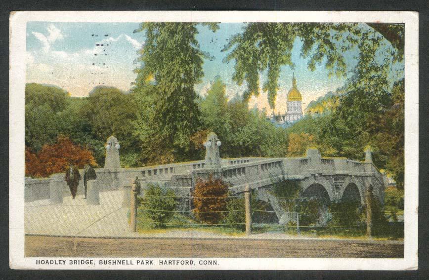 Hoadley Bridge Bushnell Park Hartford CT postcard 1921