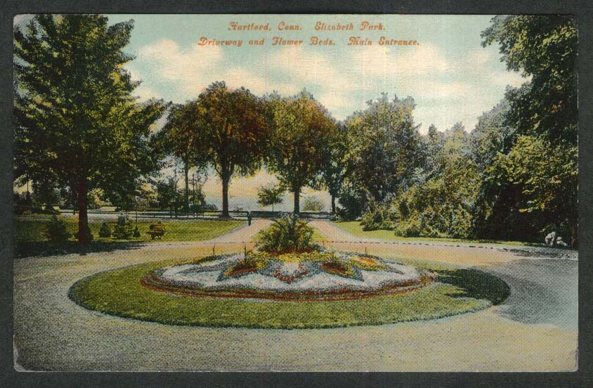 Hartford CT Elizabeth Park Driveway & Flower Beds Main Entrance postcard 1911