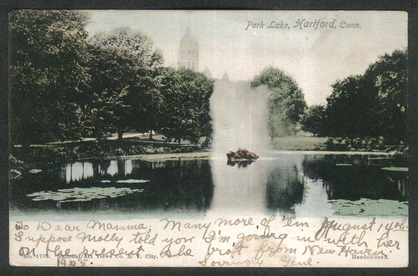 Park Lake Hartford CT undivided back postcard 1905 Capitol Building