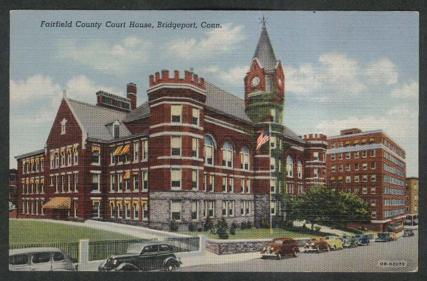 Fairfield County Court House Bridgeport CT postcard 1946