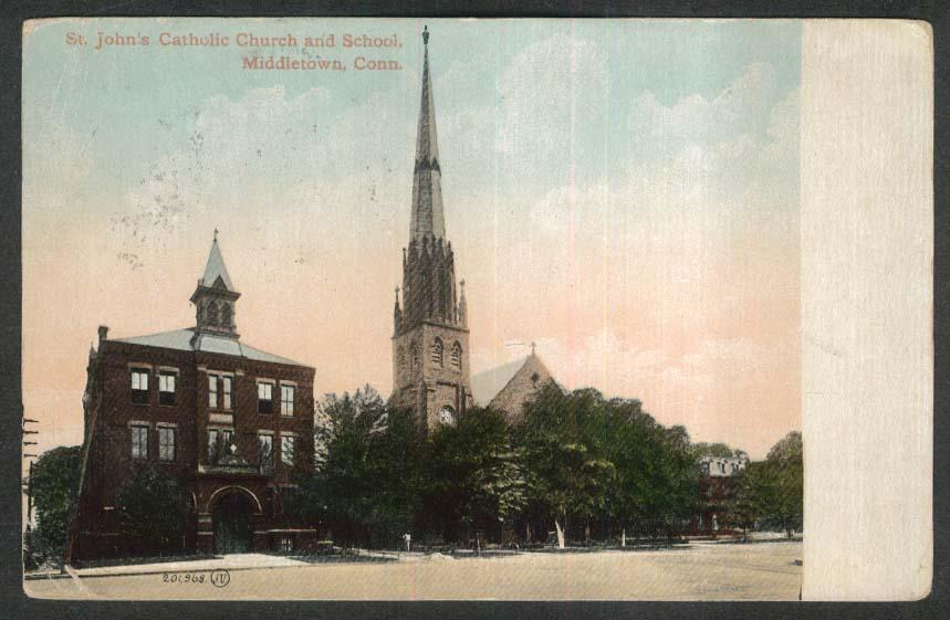St John's Catholic Church & School Middletown CT postcard 1916
