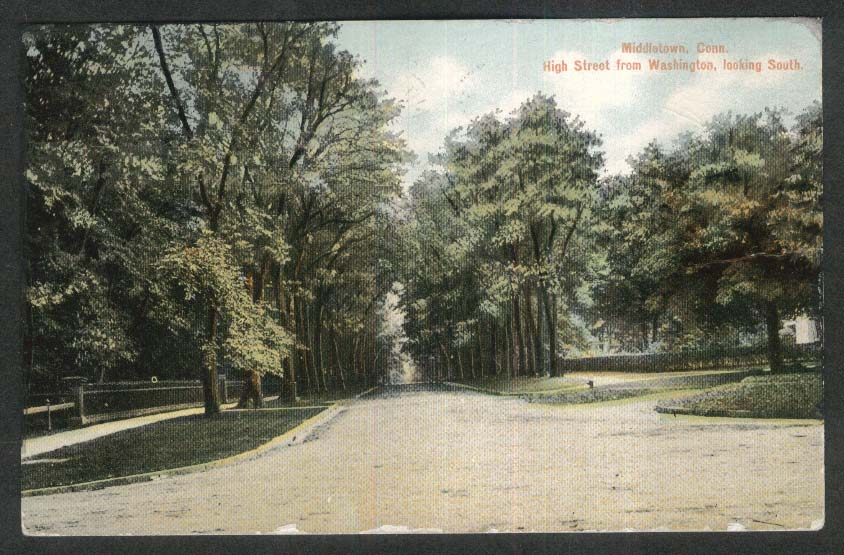 High Street from Washington looking South Middletown CT postcard 1910