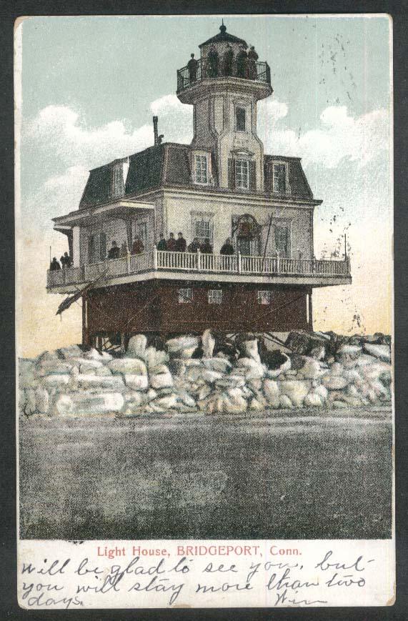 Light House Bridgeport CT undivided back postcard 1907