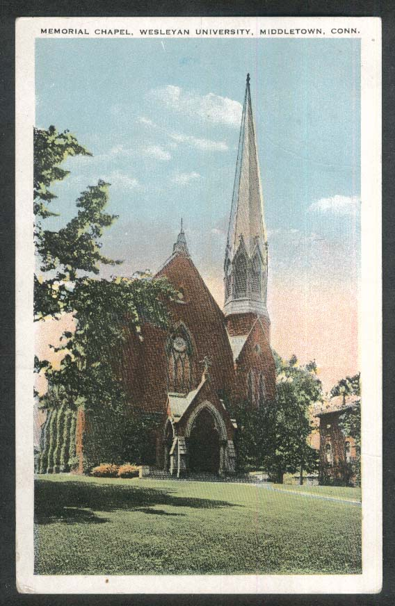 Memorial Chapel Wesleyan University Middletown CT postcard 1926