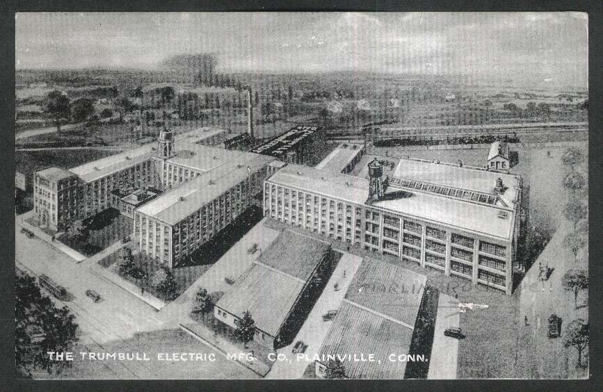 Trumbull Electric Manufacturing Company Plainville CT postcard 1951