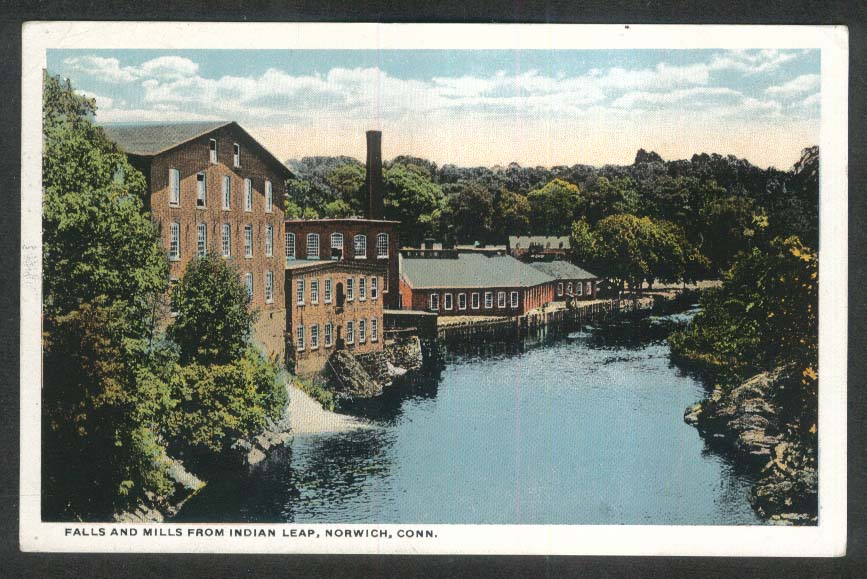 Falls & Mills from Indian Leap Norwich CT postcard 1920