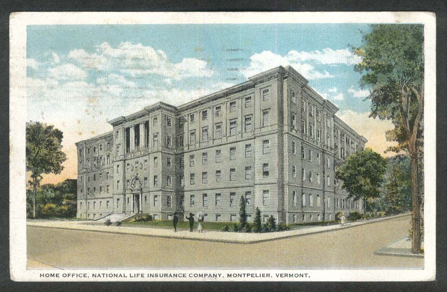 Home Office National Life Insurance Company Montpelier VT postcard 1923