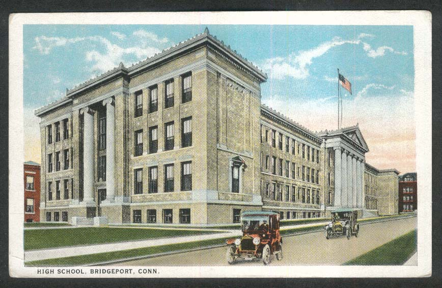 High School Bridgeport CT postcard 1923