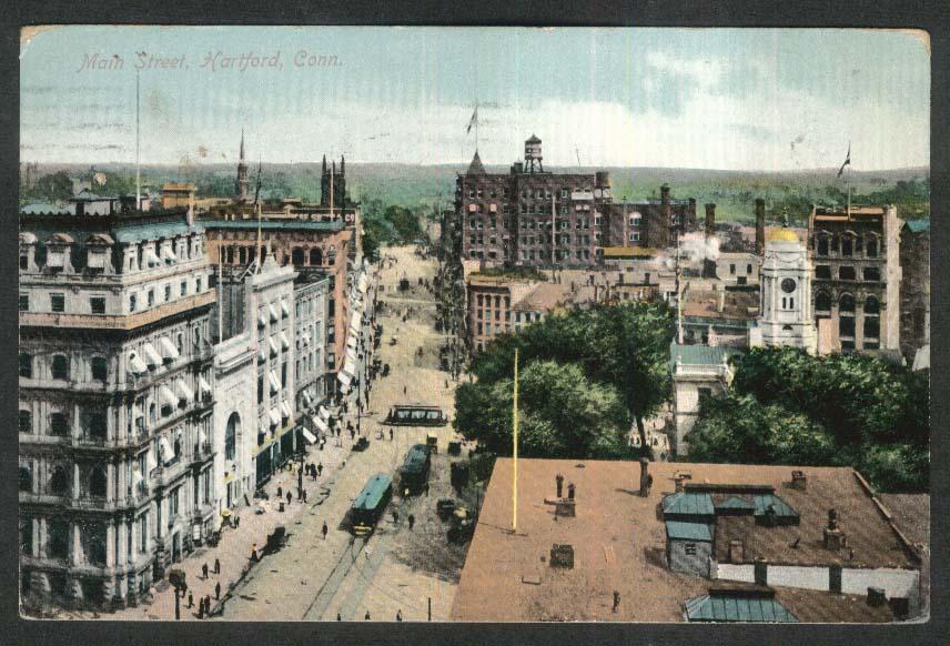 Main Street Hartford CT postcard 1909