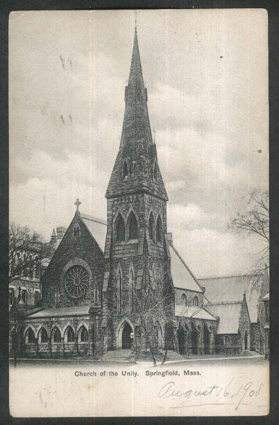 Church of the Unity Springfield MA undivided back postcard 1908