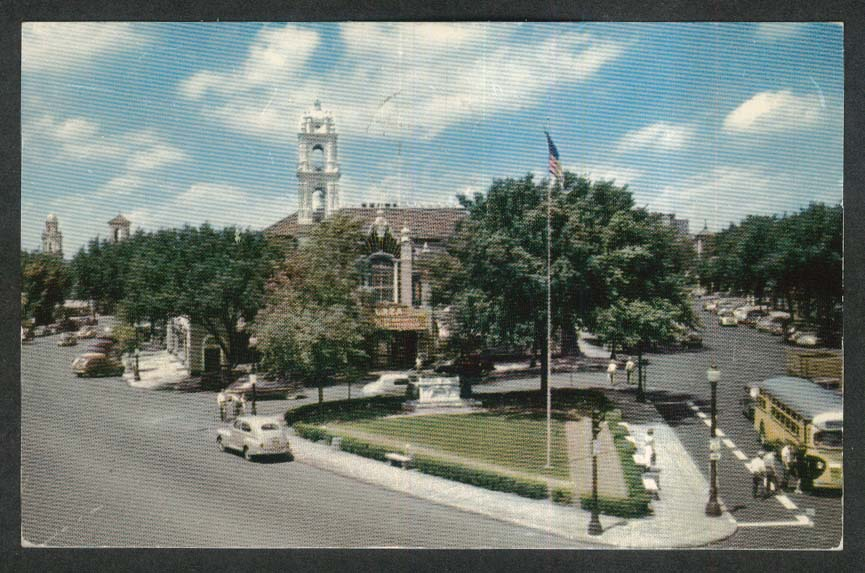 Country Club Plaza Shopping Center Kansas City MO postcard 1955