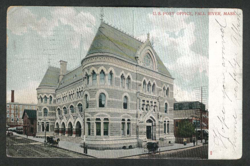 US Post Office Fall River MA undivided back postcard 1906